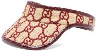 Gucci Logo-embroidered Raffia And Watersnake Visor - Burgundy