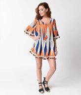 Unique Vintage 1970s Style Orange & Blue Half Sleeve Tunic Dress