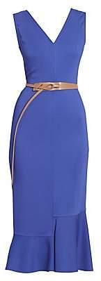 Victoria Beckham Women's Belted Frill-Hem Sleeveless Midi Dress