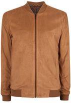 Topman Tan Faux Suede Formal Bomber Jacket
