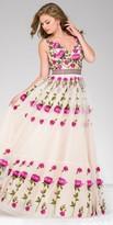 Jovani Vertical Rose Embroidered Open Back Evening Dress