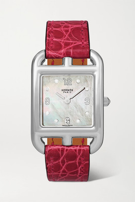 Mother of Pearl Hermes Timepieces - Cape Cod 23mm Small Stainless Steel, Alligator, Mother-of-pearl And Diamond Watch - Silver