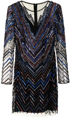 Aidan Mattox Stripe-Print Long-Sleeved Mini Dress