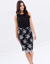 Lipsy Mono Embroidered Pencil Skirt