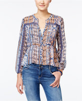 American Rag Printed Pintucked Crochet-Trim Top, Only at Macy's