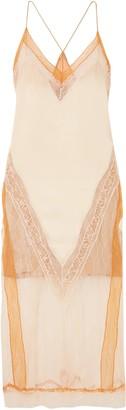 Jonathan Simkhai Lace-paneled Satin Midi Dress