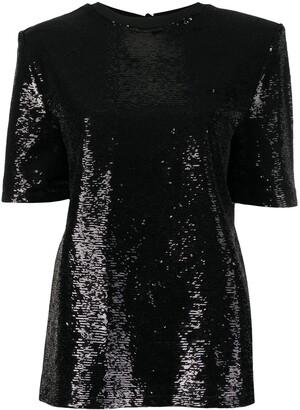 ATTICO padded shoulder sequinned T-shirt