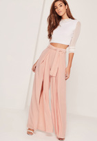 Missguided Split Front Palazzo Trousers Tie Belt Pink