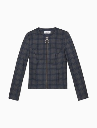 Calvin Klein Plaid Zip-Front Jacket