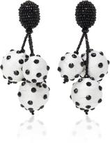 Oscar de la Renta Triple Ball Polka Dot Earrings