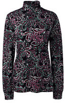 Classic Women's Tall Cotton Mock Turtleneck Navy Floral