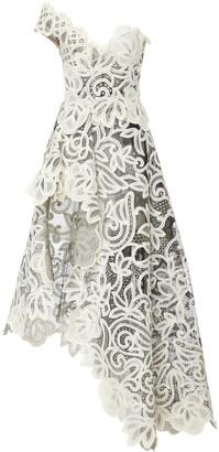 Oscar de la Renta Asymmetric Guipure Lace Tulle Gown