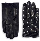 Kate Spade Faux Pearl-Embellished Leather Gloves