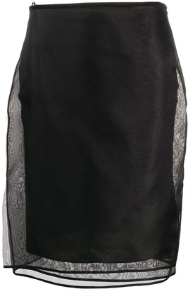 Helmut Lang Sheer Multiple Layered Silk Skirt
