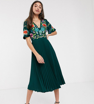 Asos Tall ASOS DESIGN Tall pleated embroidered midi dress