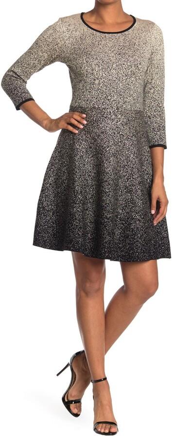 Gabby Skye 3/4 Sleeve Ombre Print Sweater Dress