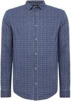 Armani Jeans Men's Regular fit textured check long sleeve shirt