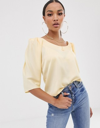 Asos Design DESIGN short sleeve satin top with scoop neck and shoulder detail-Cream