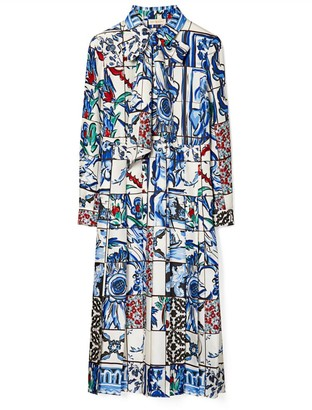 Tory Burch Printed Silk Bow Dress