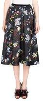 Erdem Ina Floral-Print Pleated Midi Skirt, Black/Multi