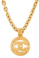 Chanel Textured CC Pendant Necklace