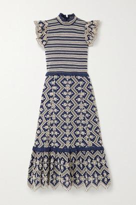 Sea Zippy Smocked Broderie Anglaise Cotton Midi Dress - Blue