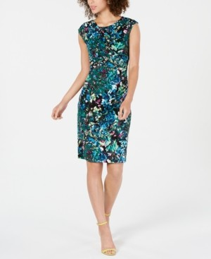Connected Printed Ruched Sheath Dress