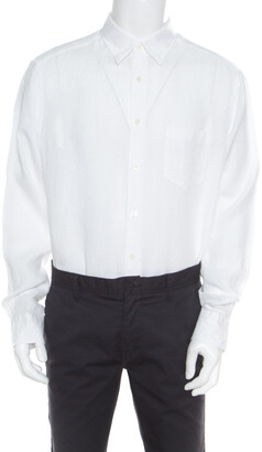 Ermenegildo Zegna White Linen Long Sleeve Button Down Shirt XXL