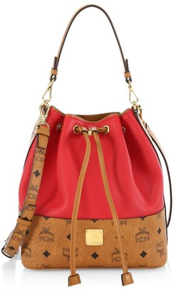 MCM Small Wilder Drawstring Leather Bucket Bag