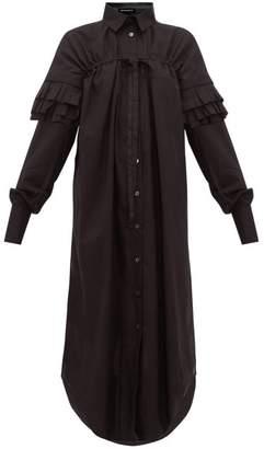 Ann Demeulemeester Ruffle-sleeve Cotton-poplin Shirt Dress - Womens - Black