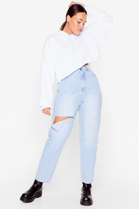 Nasty Gal Womens Sort Rip Out Plus Distressed Straight-Leg Jeans - Blue - 16