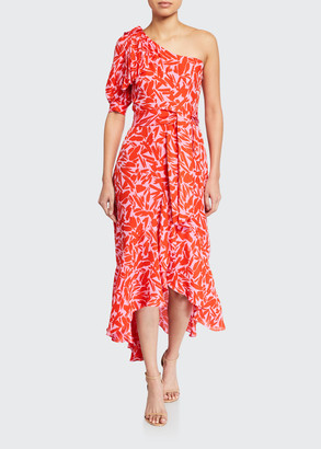 Veronica Beard Vie Printed One-Shoulder Midi Dress