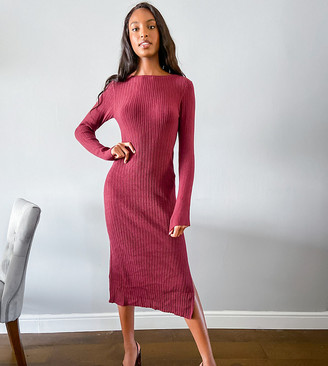 Asos Tall ASOS DESIGN Tall crew neck ribbed midi dress