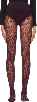 Dries Van Noten Purple Fogal Edition Lace Tights