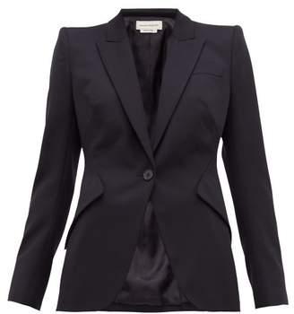 Alexander McQueen Single Breasted Wool Blazer - Womens - Navy