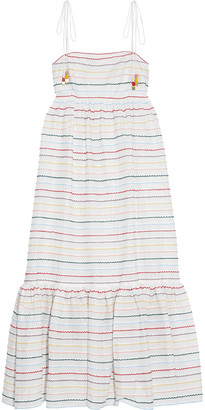 Zimmermann Zinnia Fluted Embroidered Cotton-voile Midi Dress