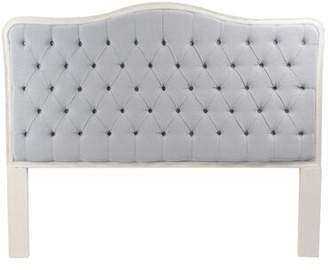 Blink Home Bardot Upholstered Panel Headboard Size: Queen, Color: Antique White, Upholstery: Light Blue/Gray