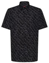 HUGO Cotton-canvas relaxed-fit shirt with cubistic logo print