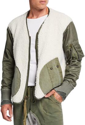 Greg Lauren Men's Sherpa/Washed Satin Flight Jacket