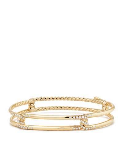 David Yurman 9mm Continuance 18K Gold Bracelet with Diamonds, Size S