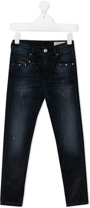 Diesel TEEN distressed-effect slim-fit jeans