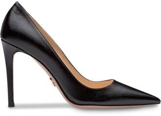 Prada Saffiano textured patent leather pumps