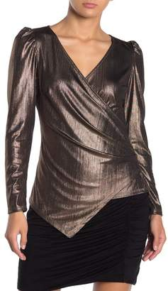 Vanity Room Long Sleeve Metallic Asymmetrical Wrap Front Blouse
