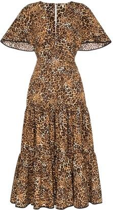 Johanna Ortiz Leopard Print Ruffled Midi-Dress