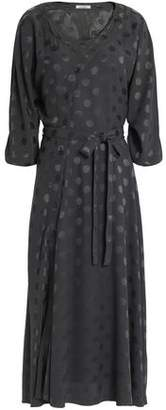 Nina Ricci Belted Polka-dot Silk-jacquard Midi Dress