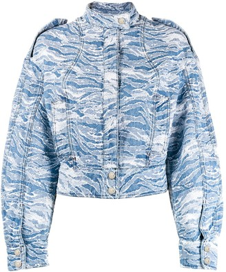 Just Cavalli Camouflage-Jacquard Denim Bomber Jacket