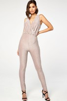 The Girlcode Mink Glitter Lurex Wrap Front Jumpsuit