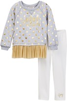 Juicy Couture Foil Dot Mesh Bottom Tunic & Legging Set (Toddler Girls)