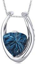 Peora Concave Trillion Cut 7.00 carats Sterling Silver Rhodium Finish London Blue Topaz Pendant