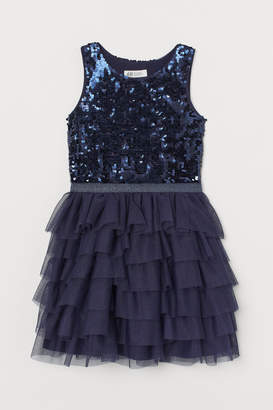 H&M Tulle Dress with Sequins - Blue